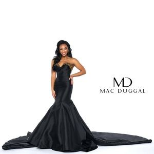 Mac Duggal white pageant gown dress 6